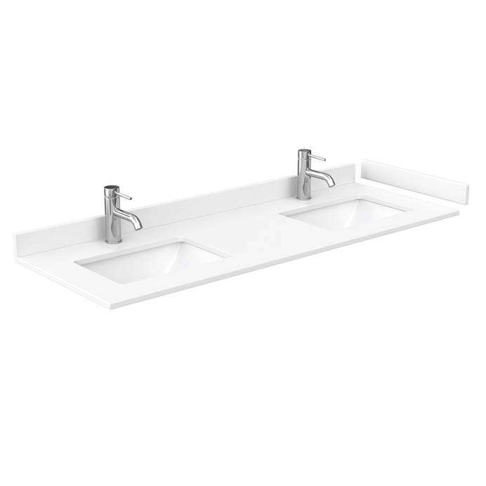 "60"" Double Countertop - White Cultured Marble with Undermount Square Sinks - Include Backsplash and Sidesplash WC-VCA-60-DBL-TOP-UMSQ-WHC"