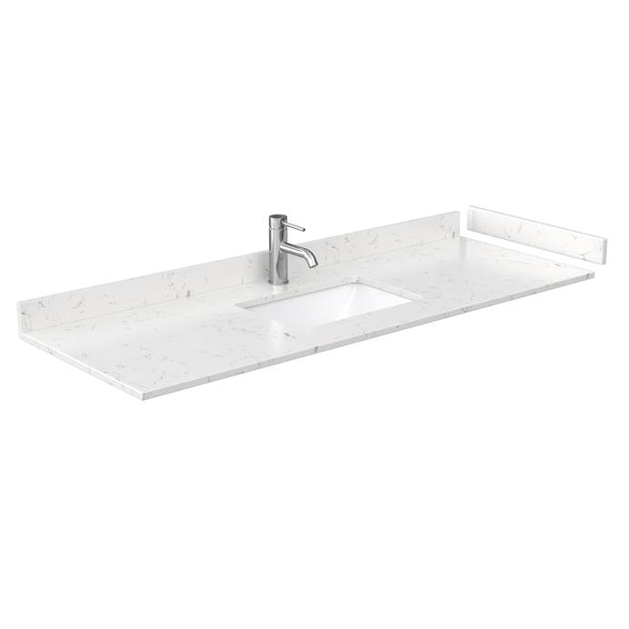"60"" Single Countertop - Light-Vein Carrara Cultured Marble with Undermount Square Sink - Include Backsplash and Sidesplash WC-VCA-60-SGL-TOP-UMSQ-CC2"