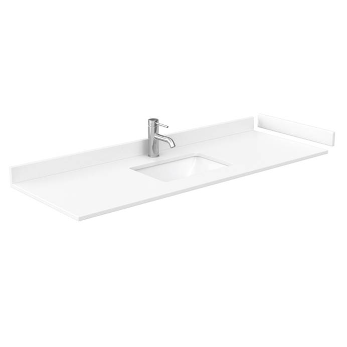 "60"" Single Countertop - White Cultured Marble with Undermount Square Sink - Include Backsplash and Sidesplash WC-VCA-60-SGL-TOP-UMSQ-WHC"