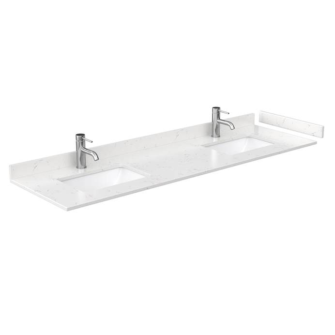 "72"" Double Countertop - Light-Vein Carrara Cultured Marble with Undermount Square Sinks - Include Backsplash and Sidesplash WC-VCA-72-DBL-TOP-UMSQ-CC2"