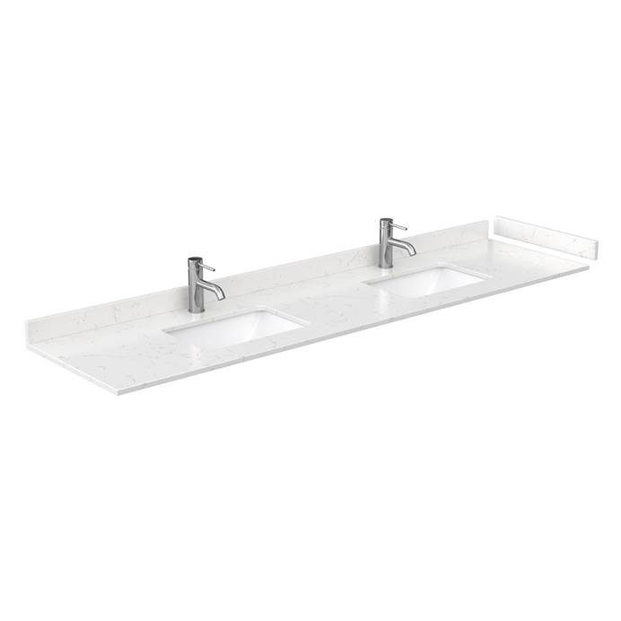 "80"" Double Countertop - Light-Vein Carrara Cultured Marble with Undermount Square Sinks - Include Backsplash and Sidesplash WC-VCA-80-DBL-TOP-UMSQ-CC2"