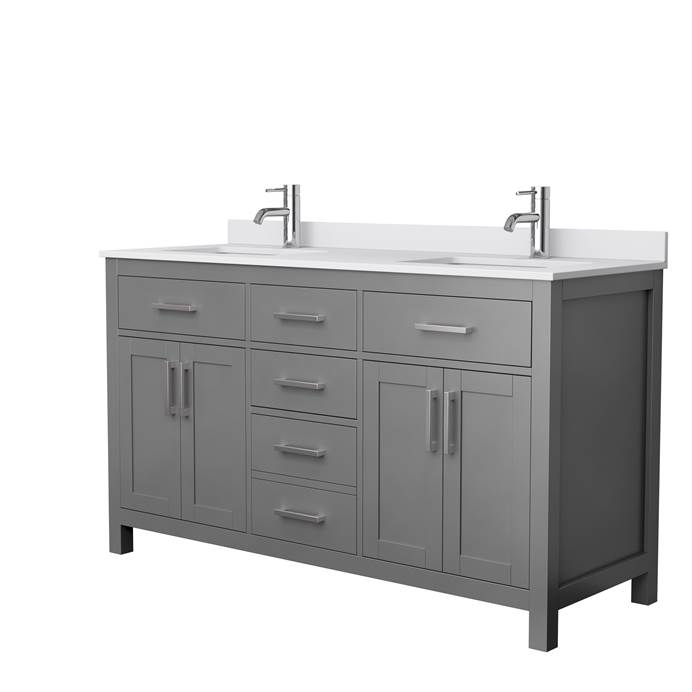 "Beckett 60"" Double Vanity by Wyndham Collection - Dark Gray WC-2424-60-DBL-VAN-DKG"