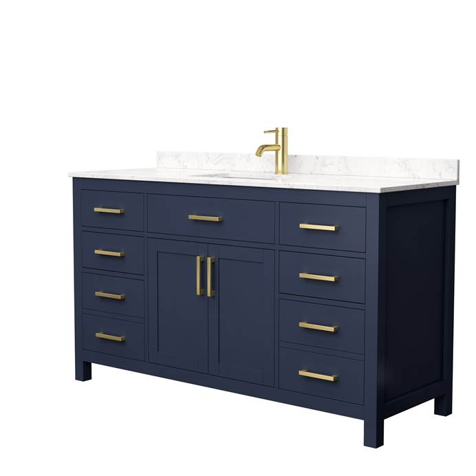 "Beckett 60"" Single Bathroom Vanity by Wyndham Collection - Dark Blue WC-2424-60-SGL-VAN-BLU"