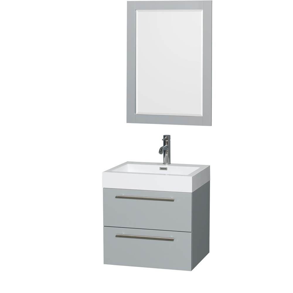 """Amare 24"""" Wall-Mounted Bathroom Vanity Set with Integrated Sink by Wyndham Collection, Dove Gray... by Wyndham Collection®"""