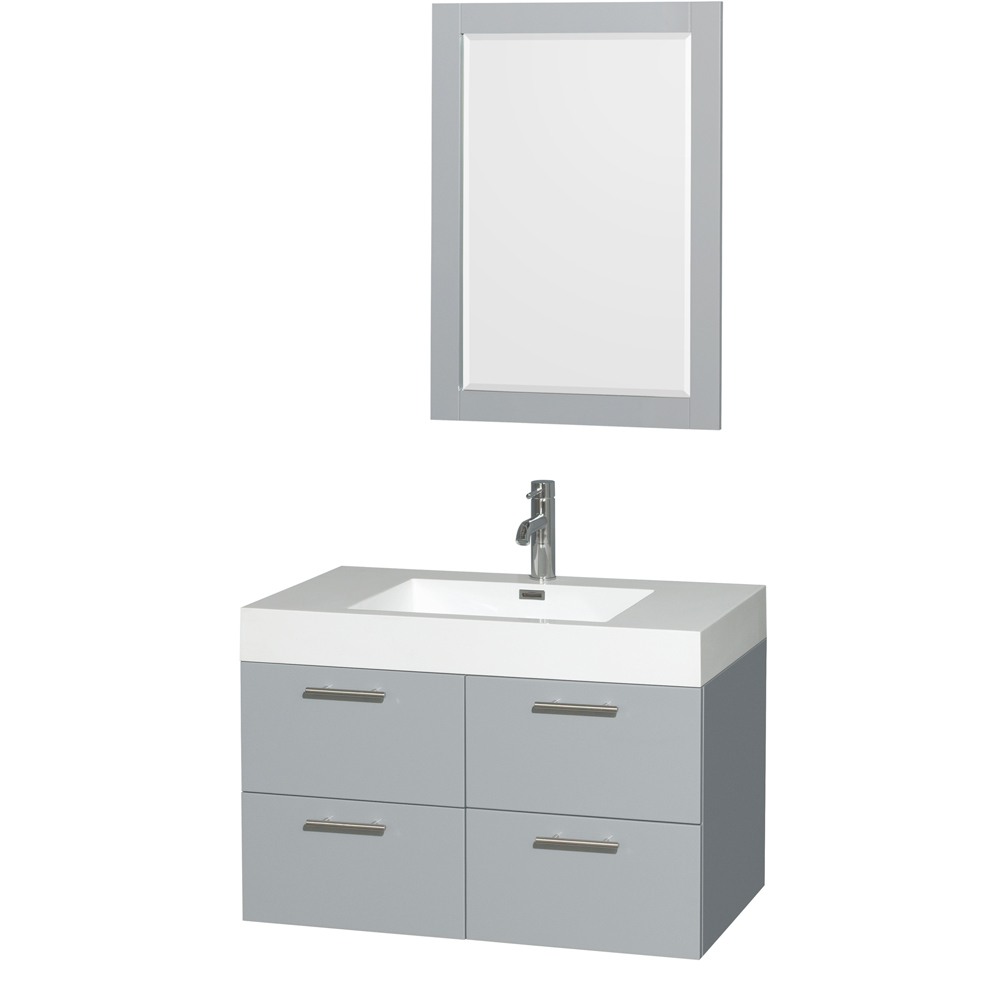 """Amare 36"""" Wall-Mounted Bathroom Vanity Set With Integrated Sink by Wyndham Collection, Dove Gray... by Wyndham Collection®"""