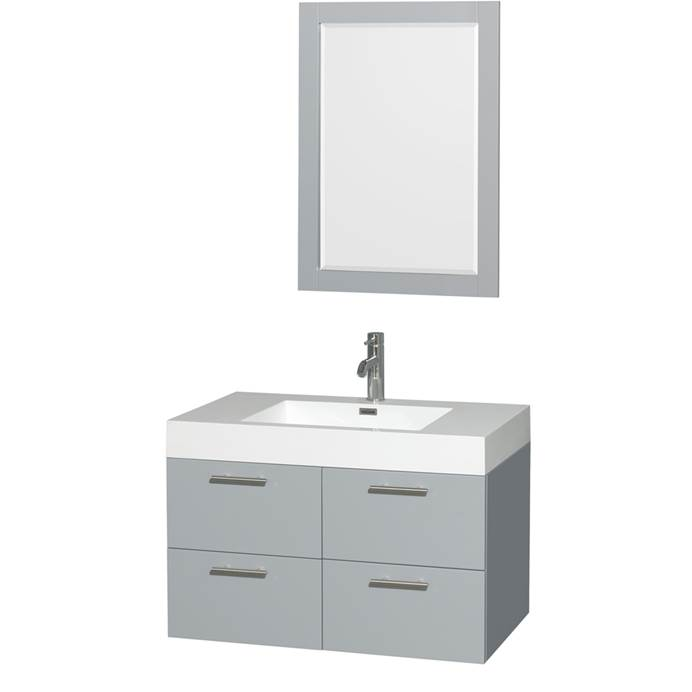 "Amare 36"" Wall-Mounted Bathroom Vanity Set With Integrated Sink by Wyndham Collection - Dove Gray WC-R4100-36-VAN-DVG-"