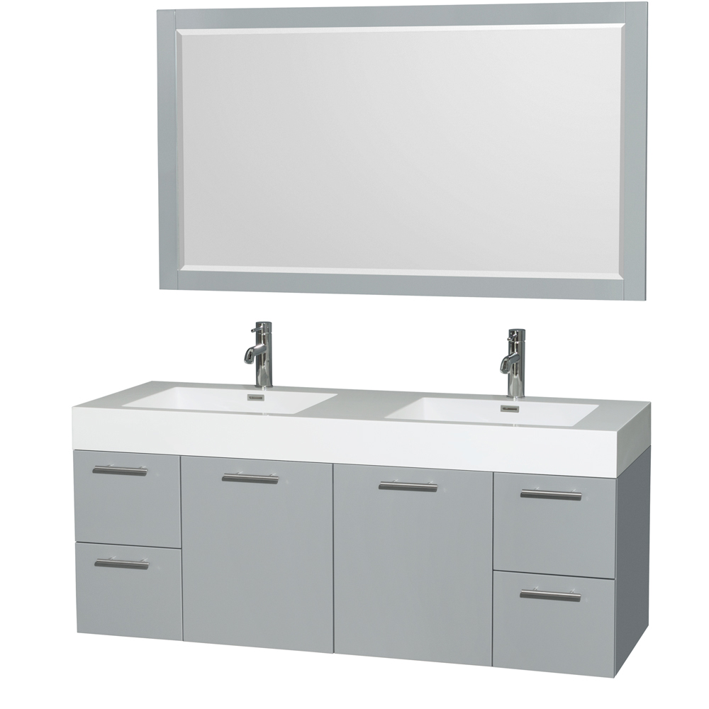 """Amare 60"""" Wall-Mounted Double Bathroom Vanity Set with Integrated Sinks by Wyndham Collection, Dove Gray... by Wyndham Collection®"""