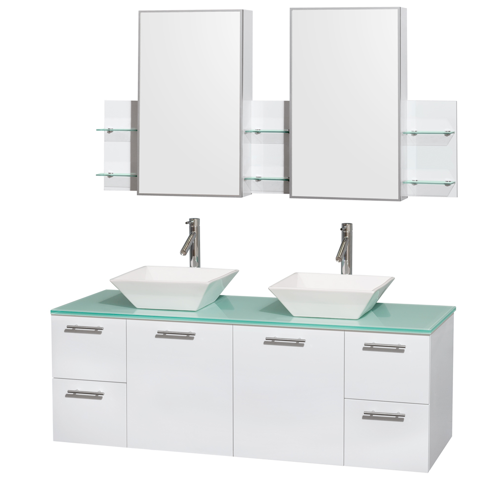 Amare 60 Wall Mounted Double Bathroom Vanity Set With Vessel Sinks