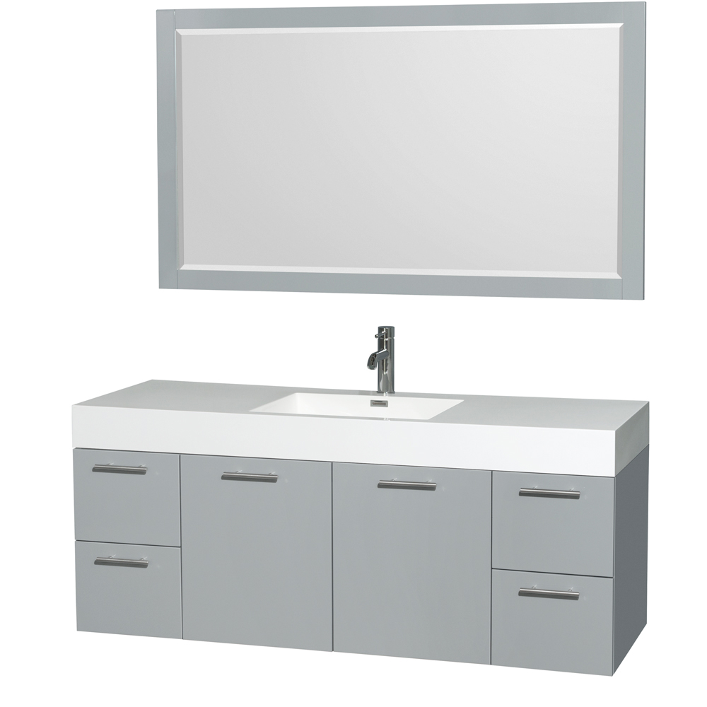 """Amare 60"""" Wall-Mounted Single Bathroom Vanity Set with Integrated Sink by Wyndham Collection, Dove Gray... by Wyndham Collection®"""
