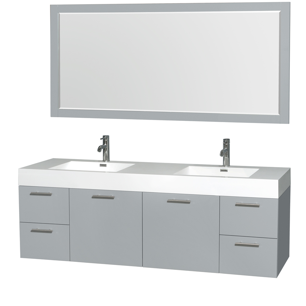 """Amare 72"""" Wall-Mounted Double Bathroom Vanity Set with Integrated Sinks by Wyndham Collection, Dove Gray... by Wyndham Collection®"""
