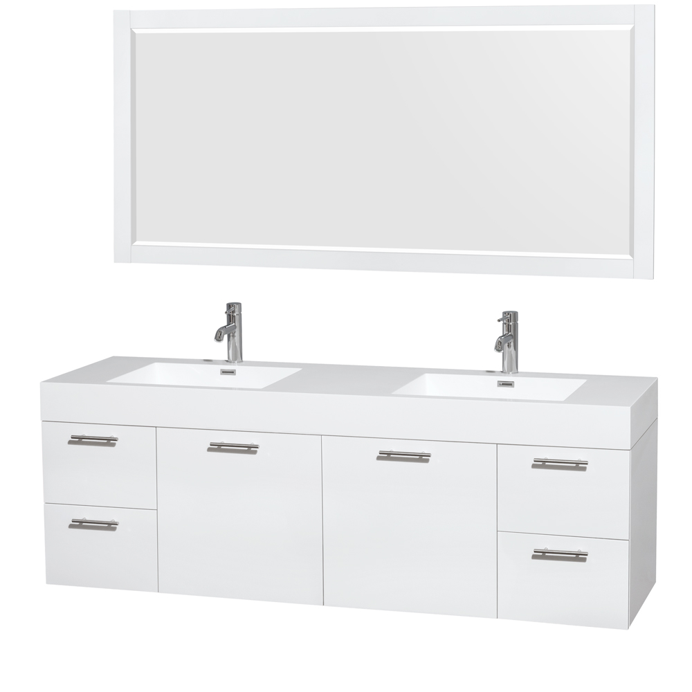 Miraculous Amare 72 Double Bathroom Vanity In Glossy White Acrylic Resin Countertop Integrated Sinks And 70 Mirror Home Remodeling Inspirations Genioncuboardxyz