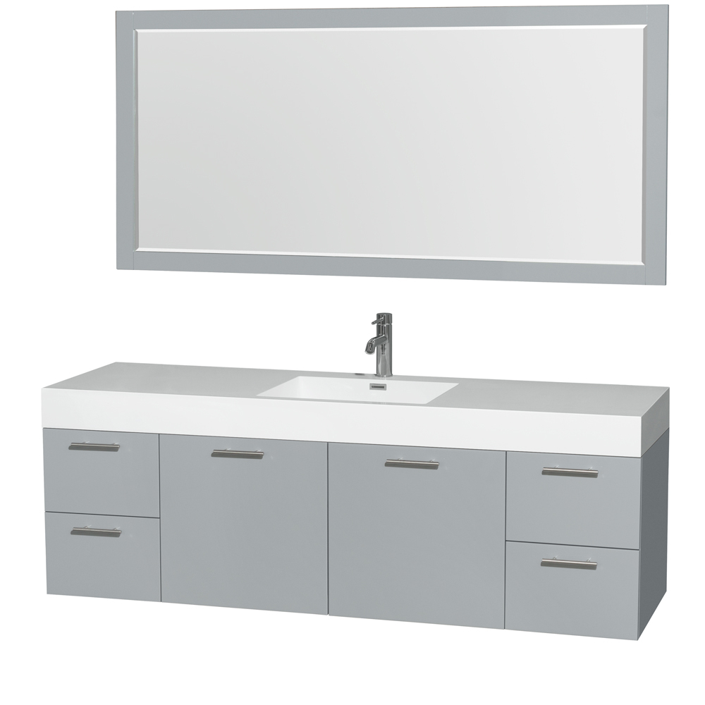 """Amare 72"""" Wall-Mounted Single Bathroom Vanity Set with Integrated Sink by Wyndham Collection, Dove Gray... by Wyndham Collection®"""
