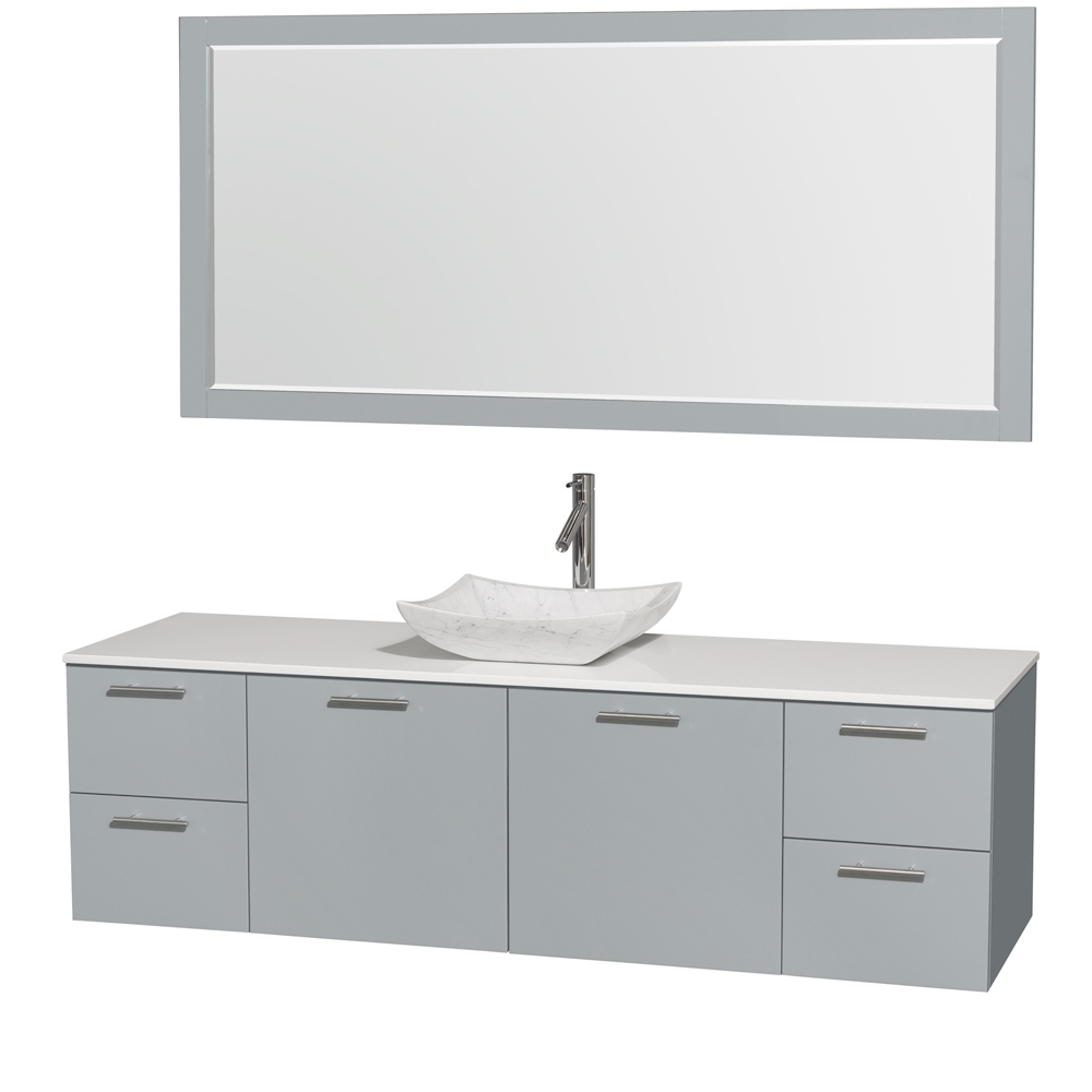 """Amare 72"""" Wall-Mounted Single Bathroom Vanity Set with Vessel Sink by Wyndham Collection, Dove Gray... by Wyndham Collection®"""