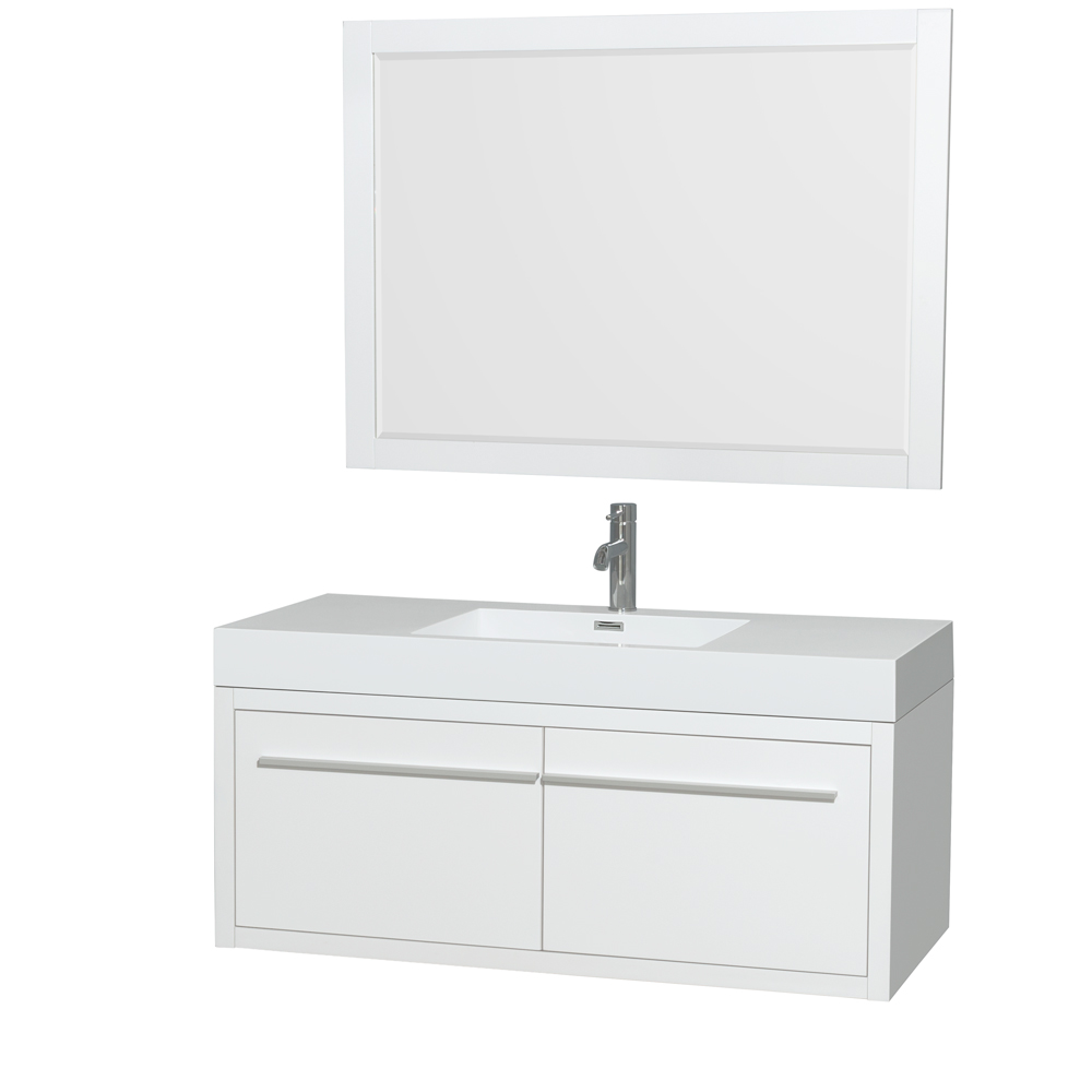 """Axa 48"""" Wall-Mounted Bathroom Vanity Set With Integrated Sink by Wyndham Collection, Glossy White... by Wyndham Collection®"""