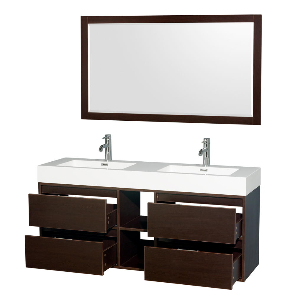 Daniella 60 Quot Wall Mounted Double Bathroom Vanity Set With