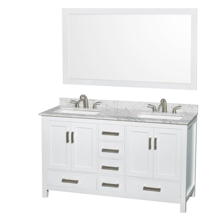 "Sheffield 60"" Double Bathroom Vanity by Wyndham Collection, Square Sink (3 Hole) - White WC-1414-60-DBL-VAN-WHT-3H"