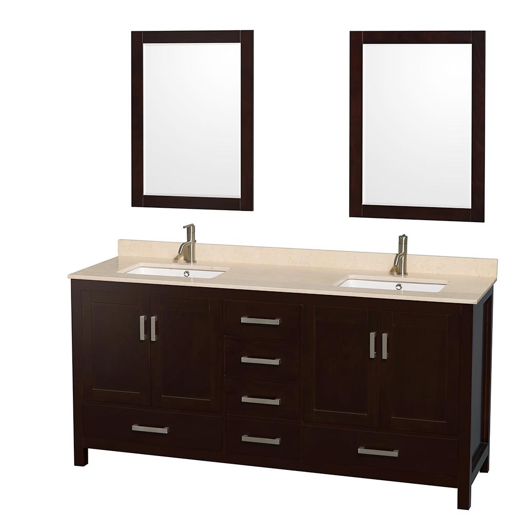 sheffield 72u0026quot double bathroom vanity by wyndham collection espresso wc141472