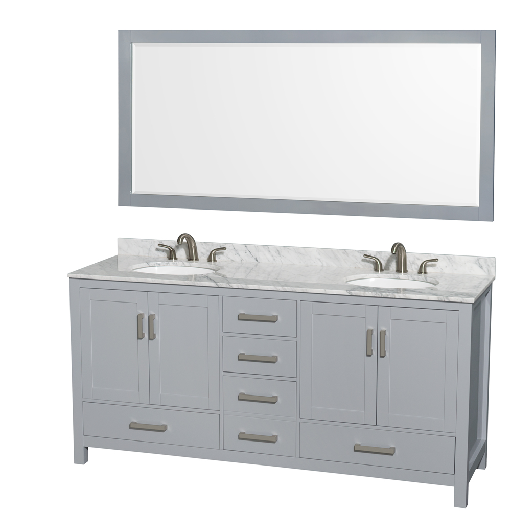 Sheffield 72 double bathroom vanity by wyndham collection gray free shipping modern bathroom for Sheffield 72 double bathroom vanity