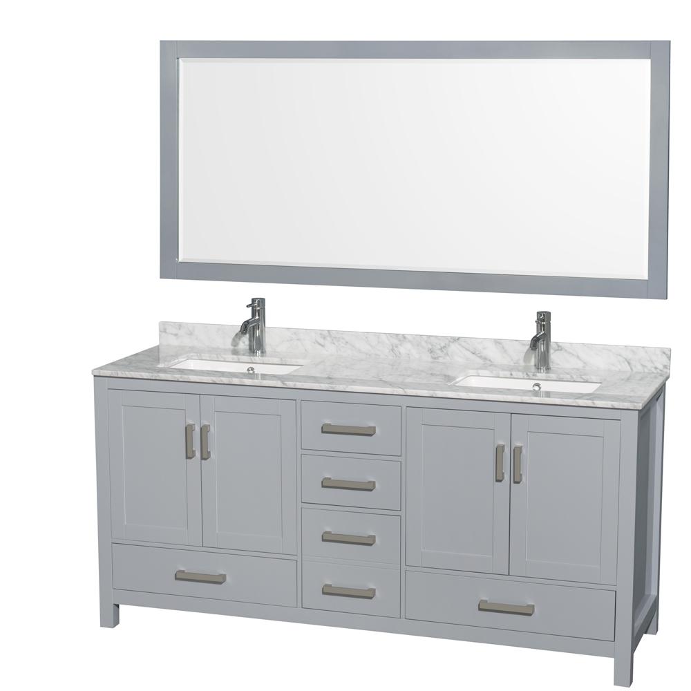 Sheffield 72 Double Bathroom Vanity By Wyndham Collection Gray Free Shipping Modern Bathroom