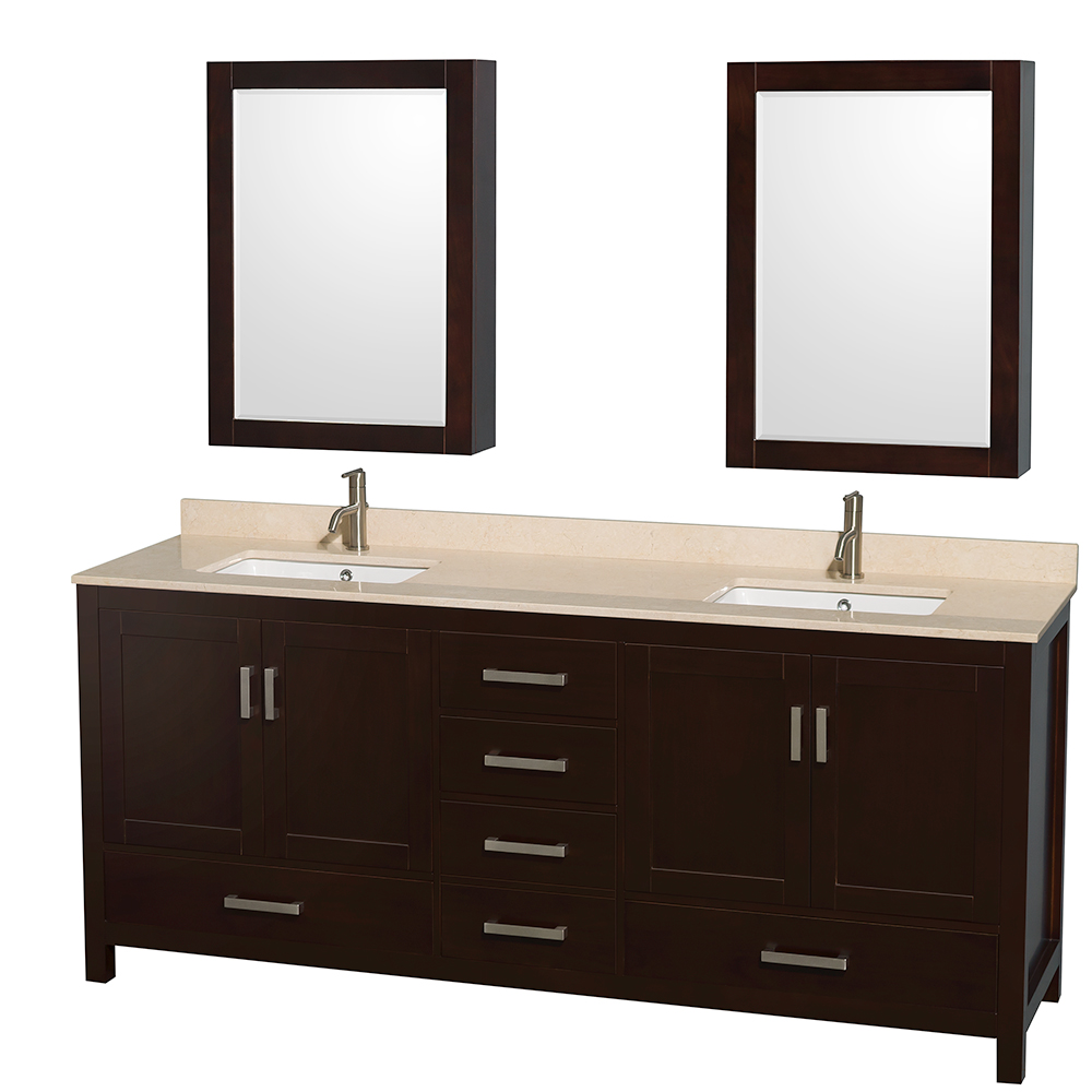 Sheffield 80 Quot Double Bathroom Vanity By Wyndham Collection Espresso Free Shipping Modern