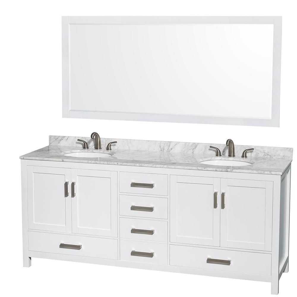 Sheffield  Double Bathroom Vanity By Wyndham Collection White - White bathroom vanity with sink