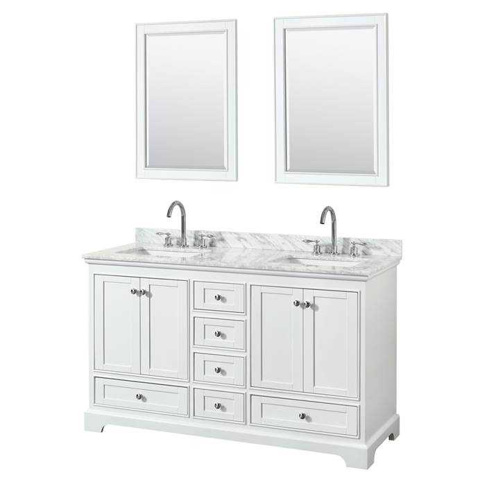 "Deborah 60"" Double Bathroom Vanity in White WC-2020-60-DBL-VAN-WHT"