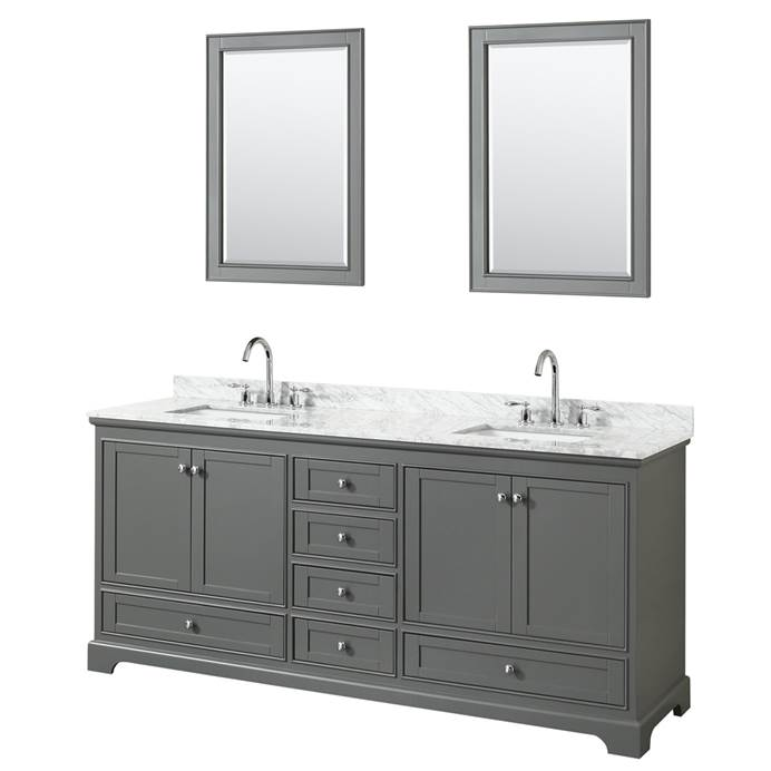 "Deborah 80"" Double Bathroom Vanity by Wyndham Collection - Dark Gray WC-2020-80-DBL-VAN-DKG"