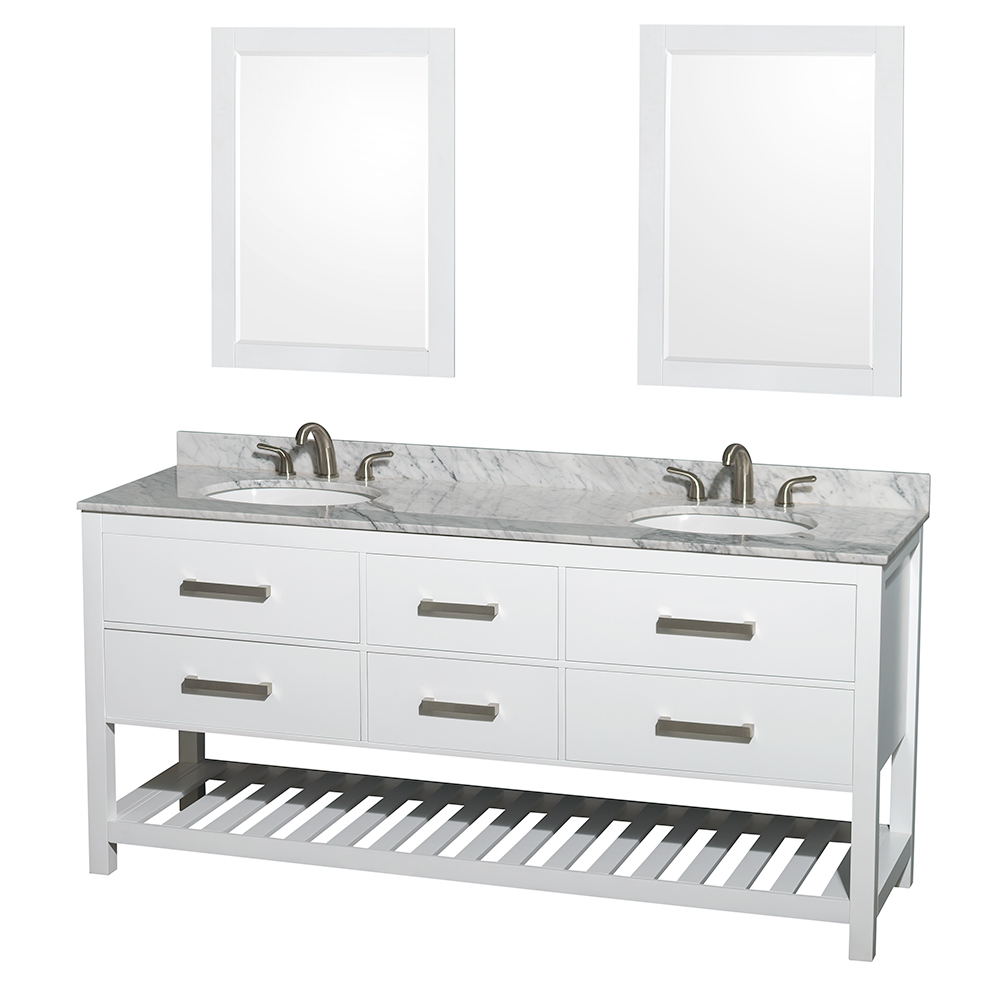 Natalie 72 Double Bathroom Vanity By Wyndham Collection White Free Shipping Modern Bathroom
