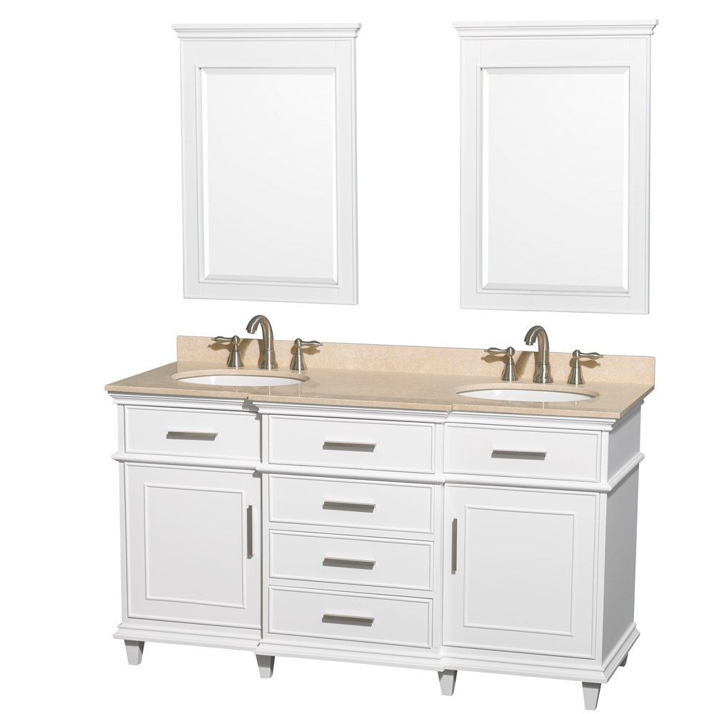 Berkeley 60 Double Bathroom Vanity By Wyndham Collection White Free Shipping Modern