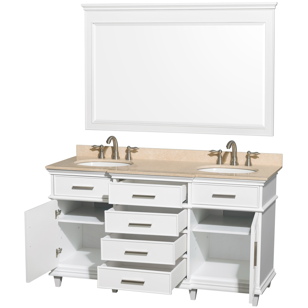 Berkeley 60 Double Bathroom Vanity By Wyndham Collection White
