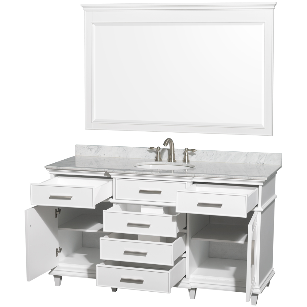 Berkeley 60 Single Bathroom Vanity By Wyndham Collection White Free Shipping Modern