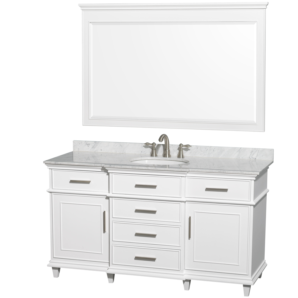Berkeley 60 Single Bathroom Vanity By Wyndham Collection White