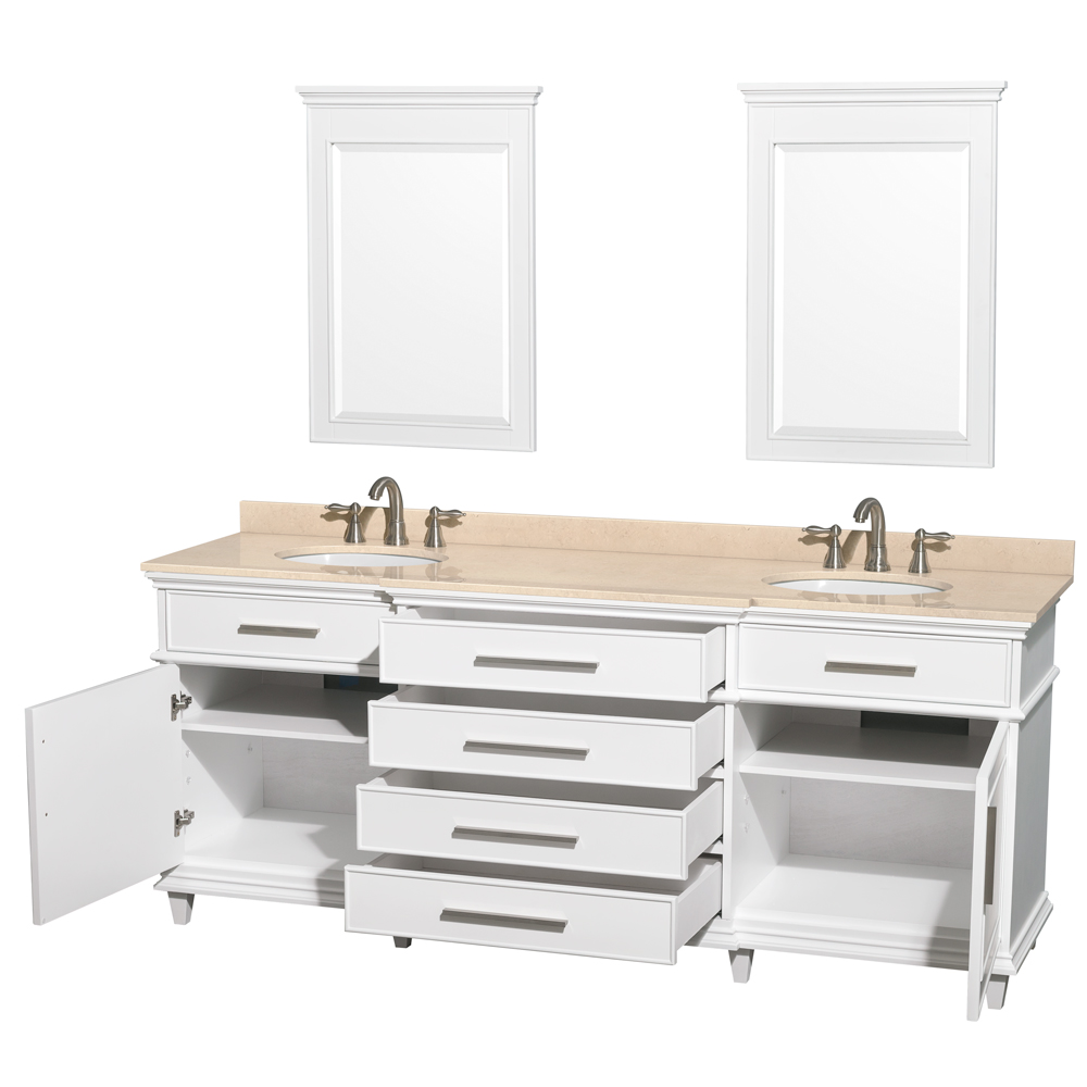 Berkeley 80 Quot Double Bathroom Vanity By Wyndham Collection White Free Shipping Modern Bathroom