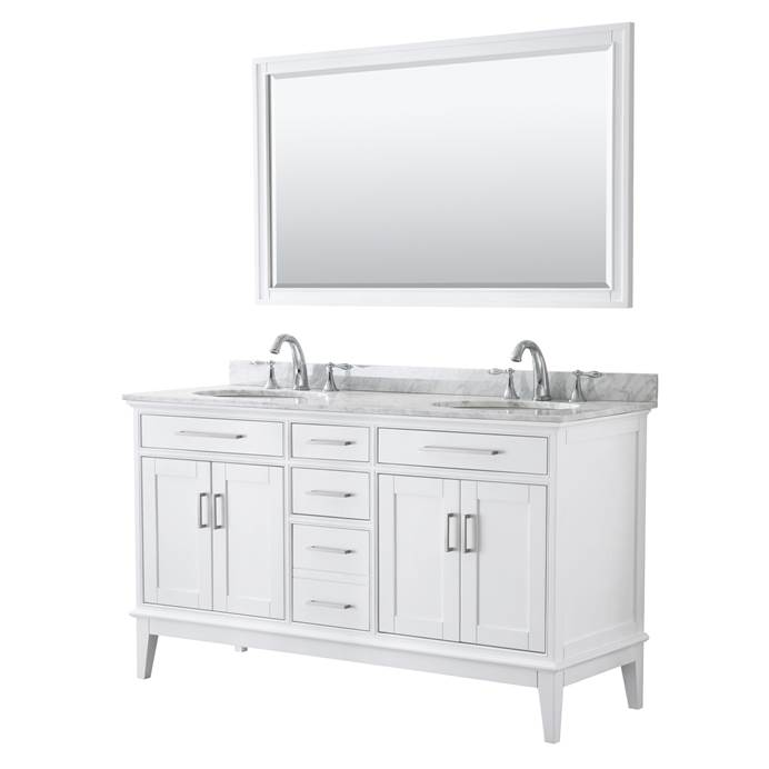 "Margate 60"" Double Bathroom Vanity by Wyndham Collection - White WC-3030-60-DBL-VAN-WHT"
