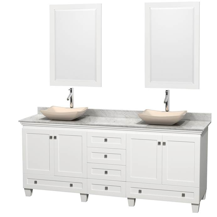 "Acclaim 80"" Double Bathroom Vanity for Vessel Sinks - White WC-CG8000-80-DBL-VAN-WHT"