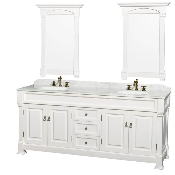 "Andover 80"" Traditional Bathroom Double Vanity Set by Wyndham Collection - White WC-TD80-DBL-VAN-WHT"