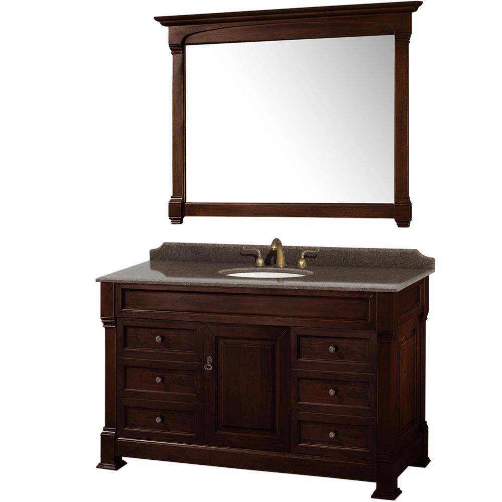 Andover 55 traditional bathroom vanity set by wyndham - 55 inch bathroom vanity single sink ...