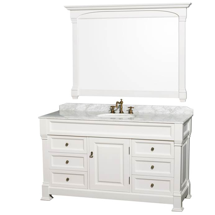 "Andover 60"" Traditional Bathroom Single Vanity Set by Wyndham Collection - White WC-TS60-SGL-VAN-WHT"