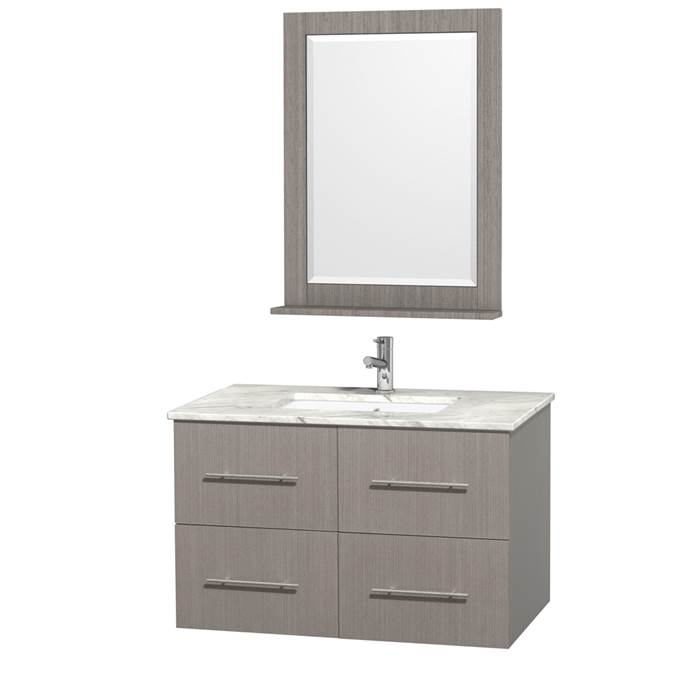 "Centra 36"" Single Bathroom Vanity for Undermount Sinks by Wyndham Collection - Gray Oak WC-WHE009-36-SGL-VAN-GRO-"