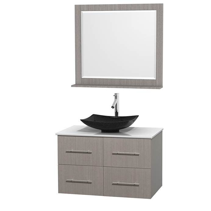 "Centra 36"" Single Bathroom Vanity for Vessel Sink by Wyndham Collection - Gray Oak WC-WHE009-36-SGL-VAN-GRO_"