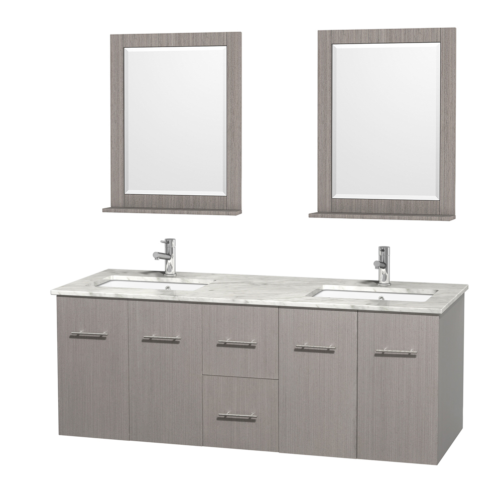 Centra 60 Double Bathroom Vanity For Undermount Sinks By Wyndham Collection Gray Oak Free