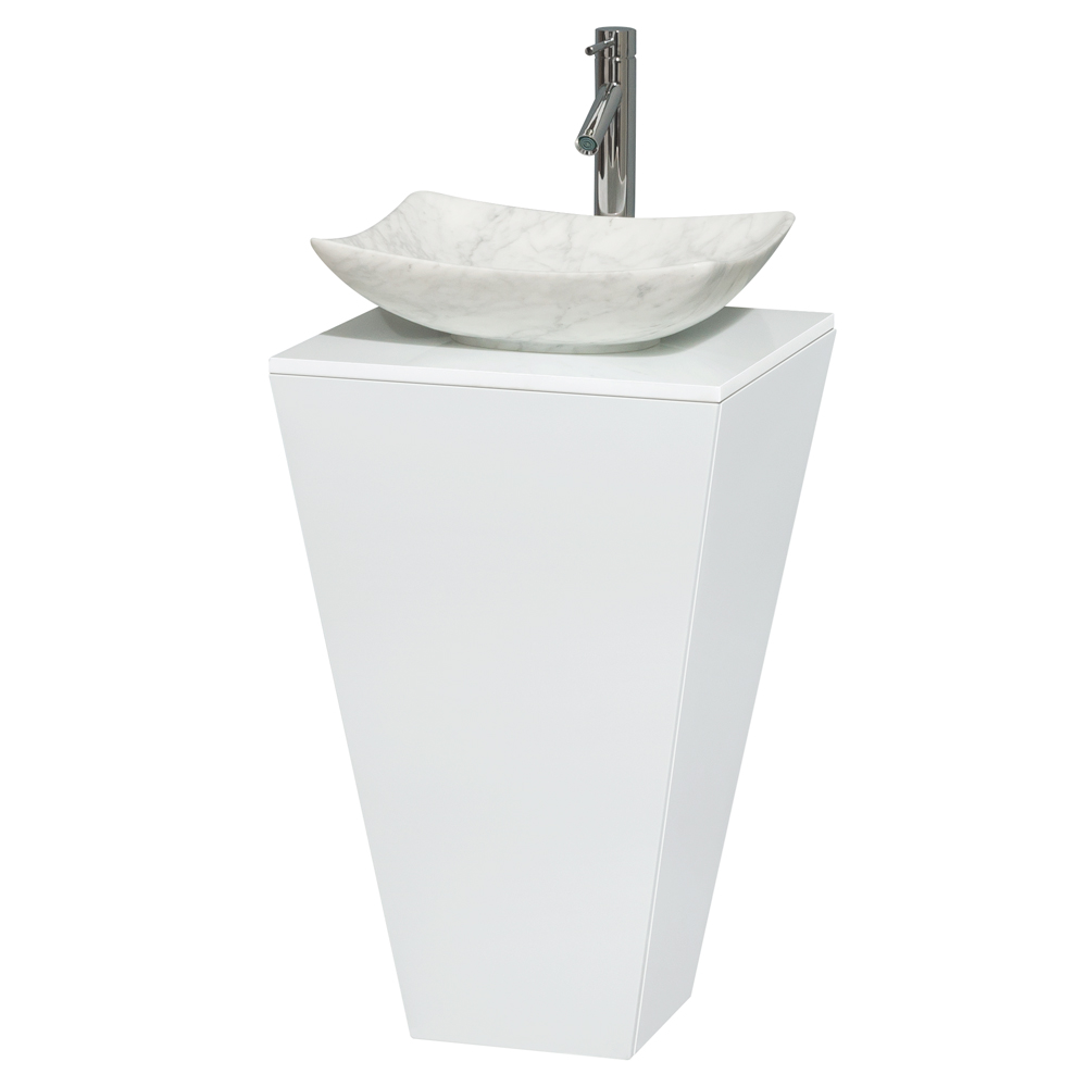 Esprit Bathroom Pedestal Vanity Set By Wyndham Collection Glossy White Free Shipping Modern Bathroom