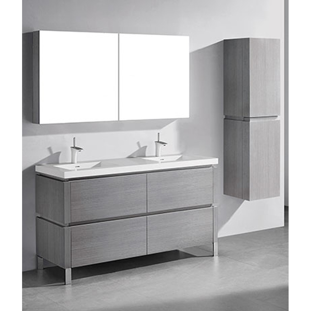 Madeli Metro 60 Double Bathroom Vanity For Integrated Basin Ash Grey Free Shipping Modern