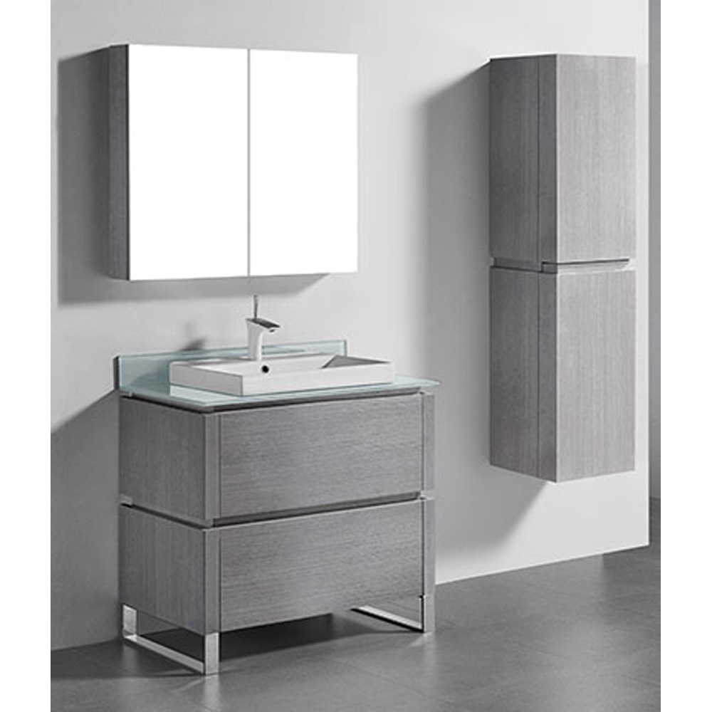 Madeli Metro 36 Quot Bathroom Vanity For Glass Counter And Porcelain Basin Ash Grey Free