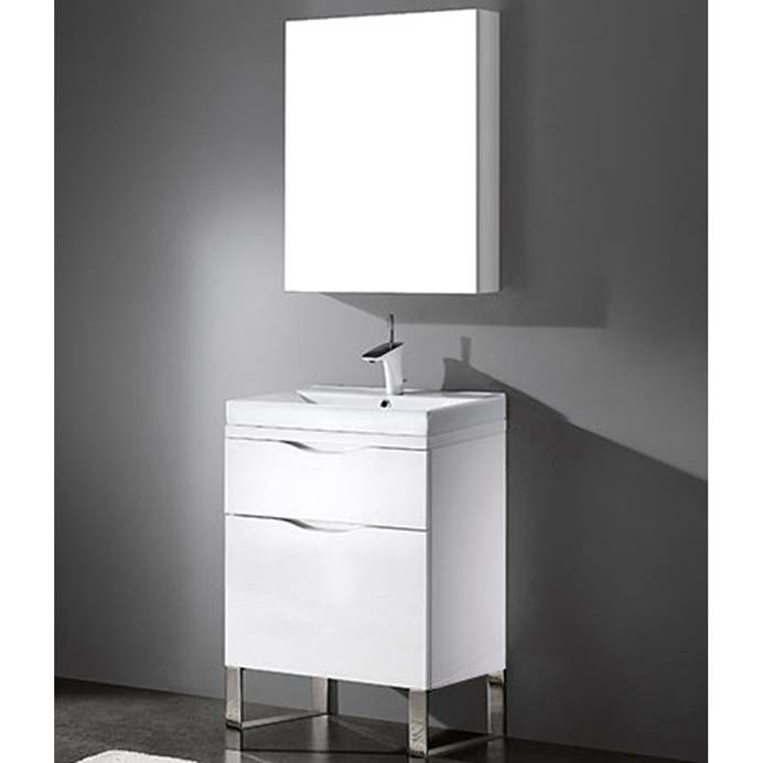 "Madeli Milano 24"" Bathroom Vanity for Integrated Basin - Glossy White B200-24-021-GW"