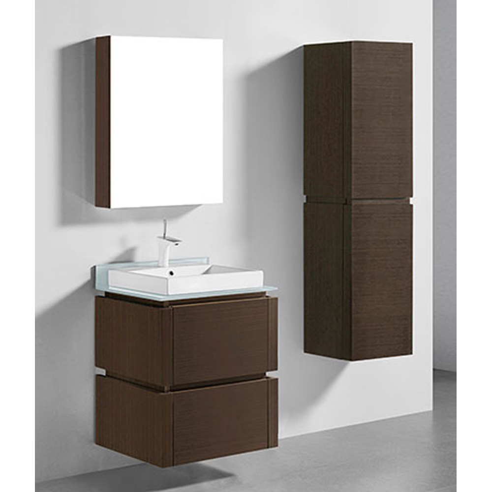 Madeli Cube 24 Quot Wall Mounted Bathroom Vanity For Glass Counter And Porcelain Basin Walnut