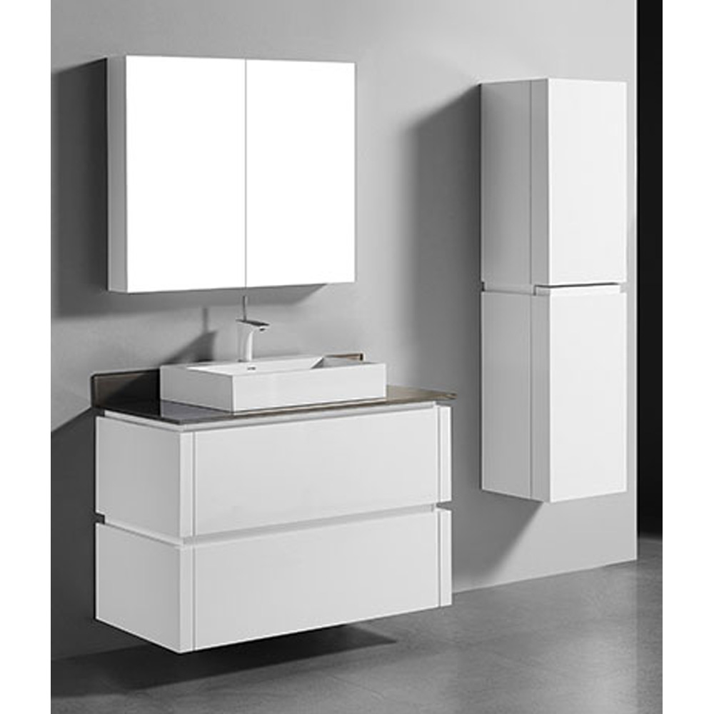 Madeli Cube 42 Quot Wall Mounted Bathroom Vanity For Glass