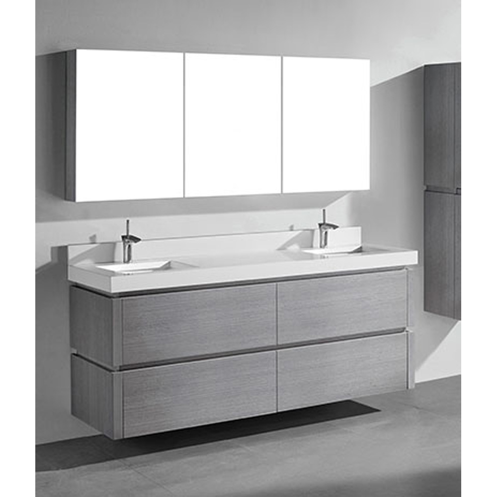 Madeli Cube 72 Quot Double Wall Mounted Bathroom Vanity For Quartzstone Top Ash Grey Free