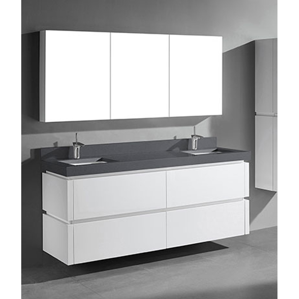 Madeli Cube 72 Double Wall Mounted Bathroom Vanity For Quartzstone Top Glossy White Free