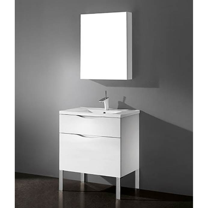 "Madeli Milano 30"" Bathroom Vanity for Integrated Basin - Glossy White B200-30-021-GW"